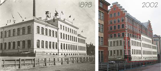Fazerin tehtaan ensimmäinen rakennusvaihe 1898 sekä vuoden 1898 julkisivut upotettuna vuoden 2002 valokuvaan. (Klikkaa kuvaa, jos haluat nähdä sen suurempana)